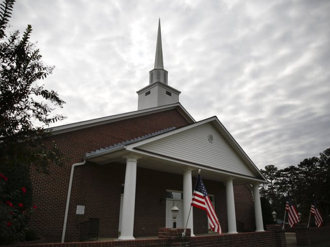 church with american flags